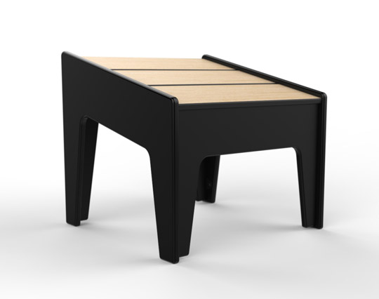 360Five Designs Midway Ottoman Black