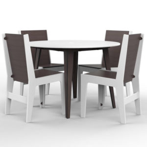 360Five Design Nexus Dining Table in White with Chairs