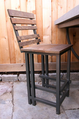 MetalSmith's Custom Metal and Wood Outdoor Bar Stool