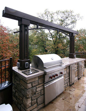 MetalSmith's Custom Outdoor Kitchen Arbor with Lights