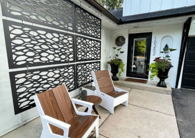 Front Entry with 360Five Furniture, OUTDECO Panels, and Gardenstone Planters