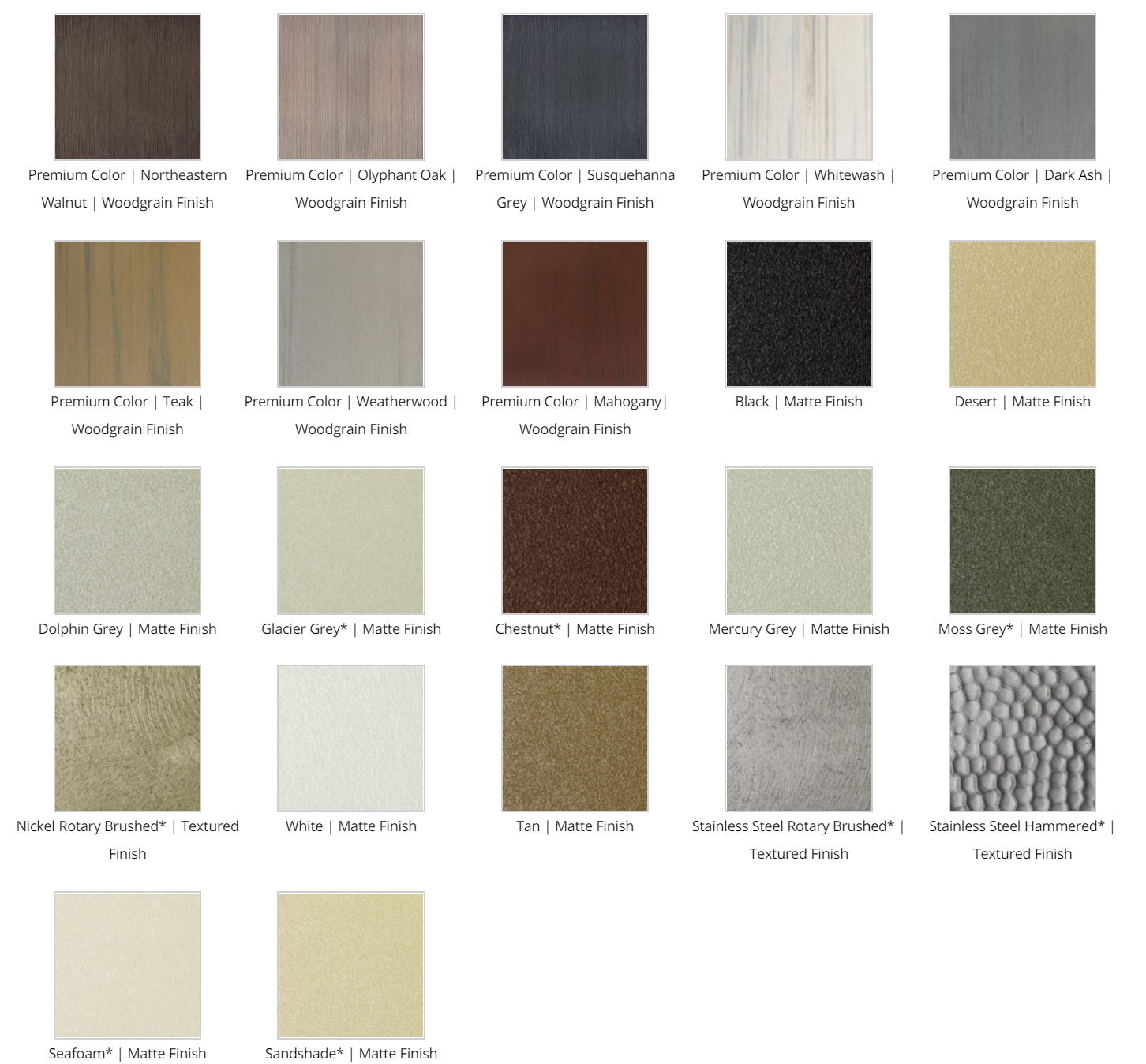 Open Air Cabinetry Colors
